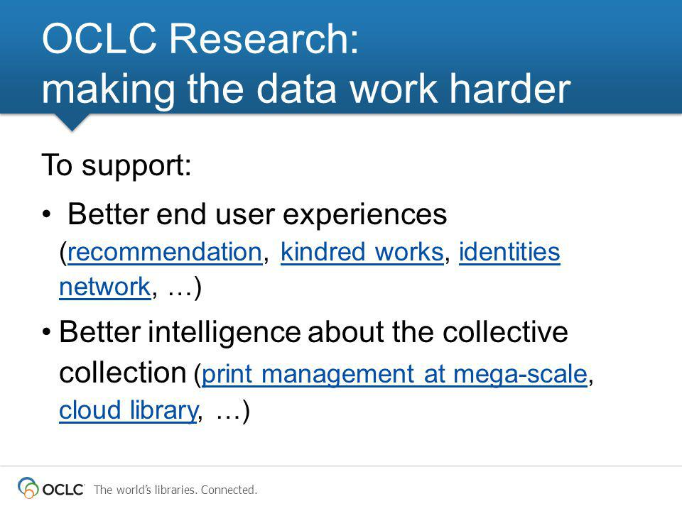 To support: Better end user experiences (recommendation, kindred works, identities network, …)recommendationkindred worksidentities network Better intelligence about the collective collection (print management at mega-scale, cloud library, …)print management at mega-scale cloud library OCLC Research: making the data work harder