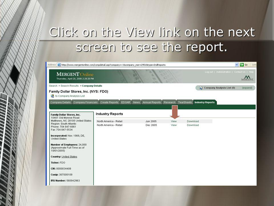 Click on the View link on the next screen to see the report.