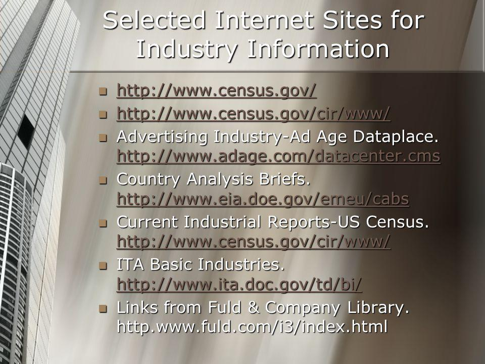 Selected Internet Sites for Industry Information http://www.census.gov/ http://www.census.gov/ http://www.census.gov/ http://www.census.gov/cir/www/ http://www.census.gov/cir/www/ http://www.census.gov/cir/www/ Advertising Industry-Ad Age Dataplace.