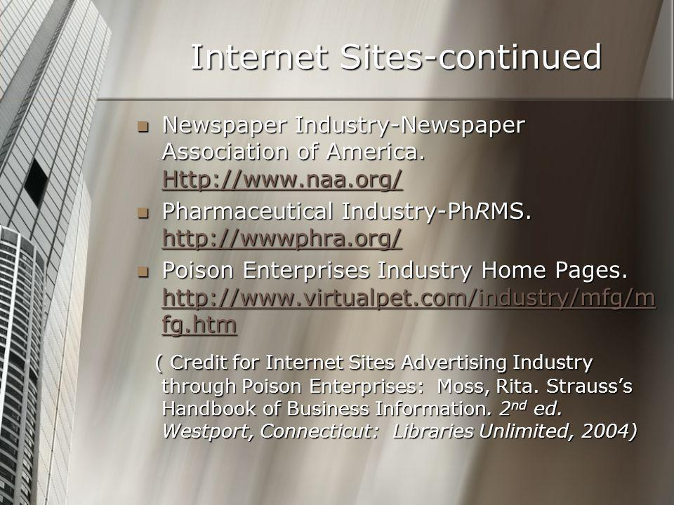 Internet Sites-continued Newspaper Industry-Newspaper Association of America. Http://www.naa.org/ Newspaper Industry-Newspaper Association of America.