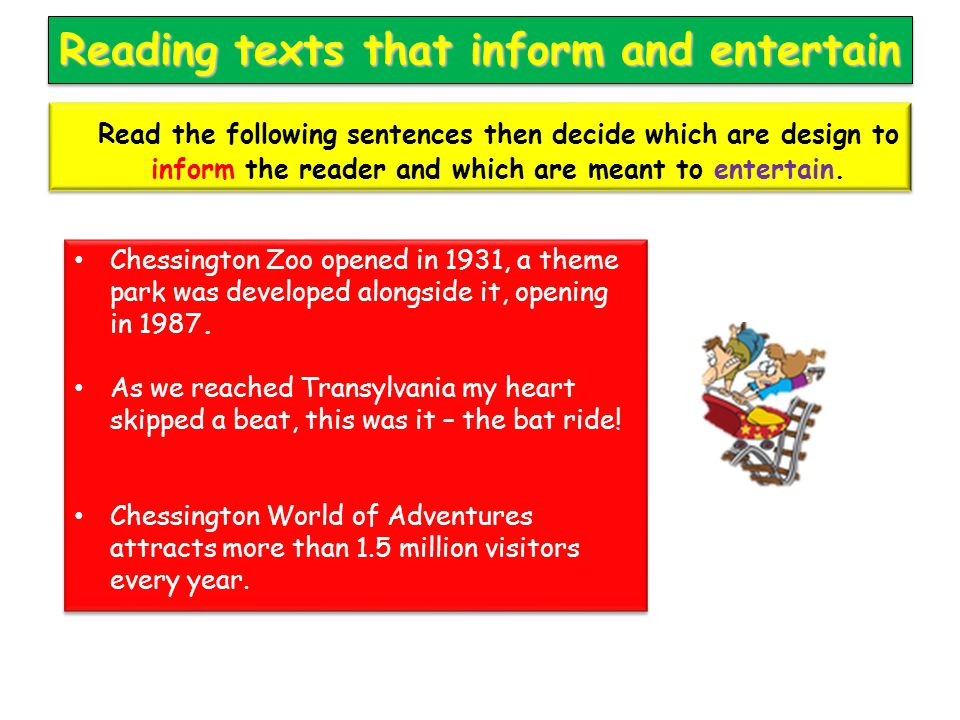 Reading texts that inform and entertain Chessington Zoo opened in 1931, a theme park was developed alongside it, opening in 1987. As we reached Transy