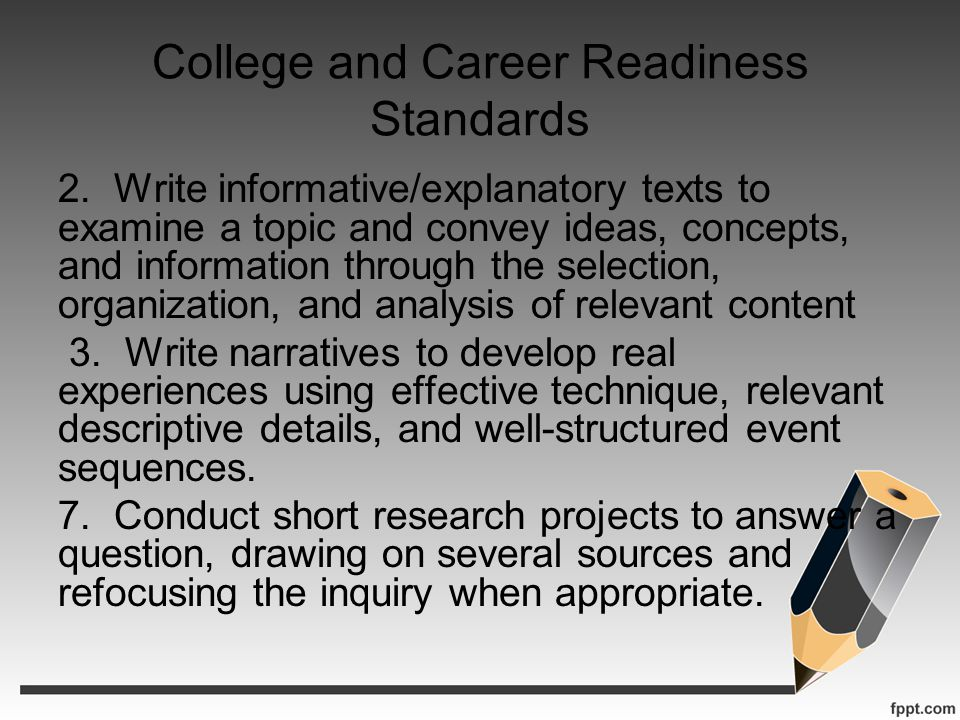 College and Career Readiness Standards 2. Write informative/explanatory texts to examine a topic and convey ideas, concepts, and information through t