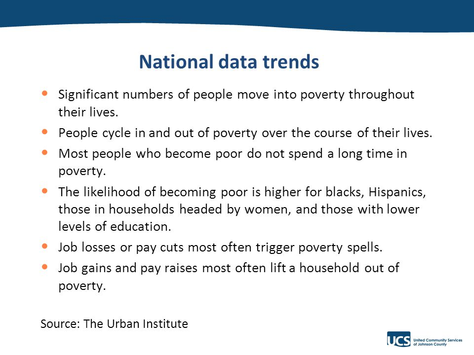 v National data trends Significant numbers of people move into poverty throughout their lives.