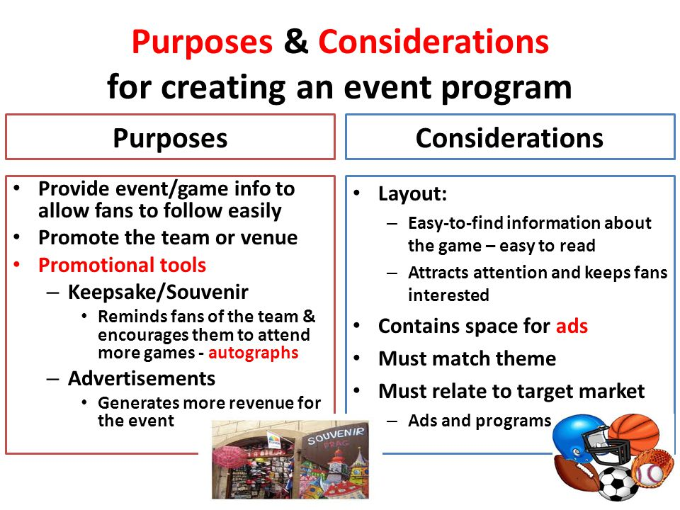 Purposes & Considerations for creating an event program Purposes Provide event/game info to allow fans to follow easily Promote the team or venue Prom