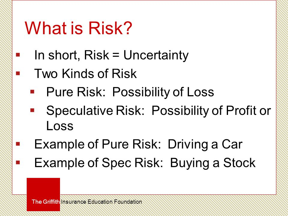 What is Risk?  In short, Risk = Uncertainty  Two Kinds of Risk  Pure Risk: Possibility of Loss  Speculative Risk: Possibility of Profit or Loss 