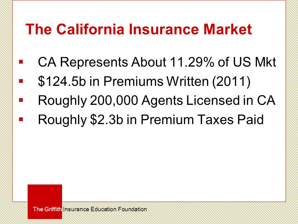 The California Insurance Market  CA Represents About 11.29% of US Mkt  $124.5b in Premiums Written (2011)  Roughly 200,000 Agents Licensed in CA 