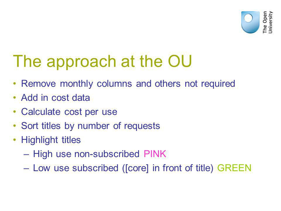 The approach at the OU Remove monthly columns and others not required Add in cost data Calculate cost per use Sort titles by number of requests Highlight titles – High use non-subscribed PINK – Low use subscribed ([core] in front of title) GREEN