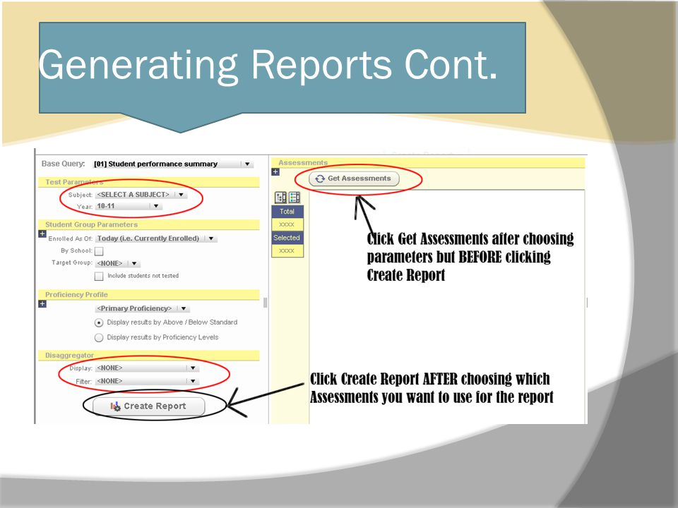 Generating Reports Cont.
