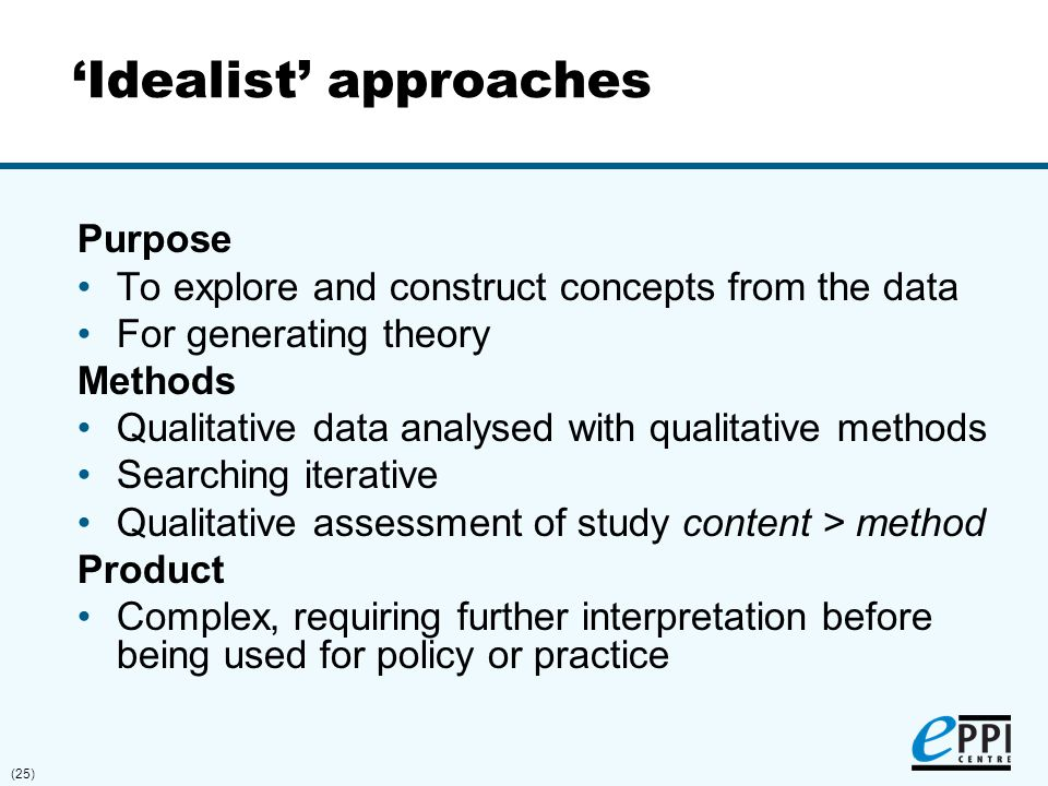 (25) 'Idealist' approaches Purpose To explore and construct concepts from the data For generating theory Methods Qualitative data analysed with qualit