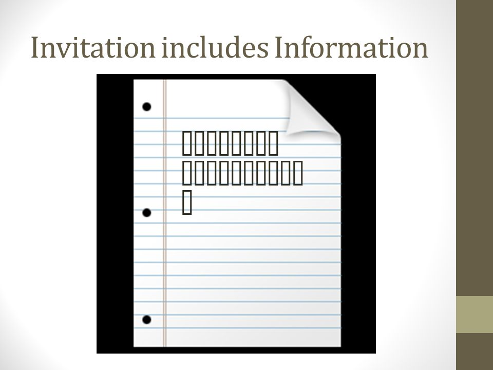 Invitation includes Information Position Descriptio n