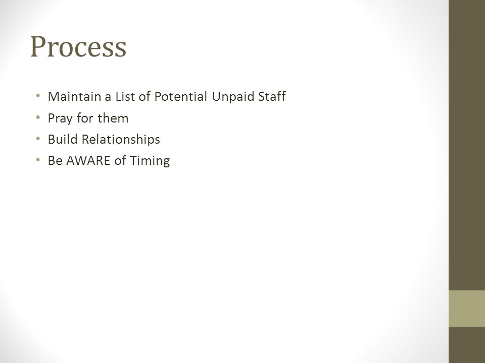 Process Maintain a List of Potential Unpaid Staff Pray for them Build Relationships Be AWARE of Timing