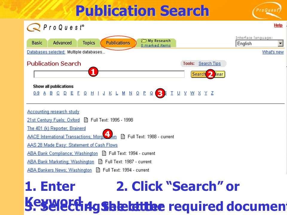 Publication Search 1. Enter Keyword 2. Click Search or 3.