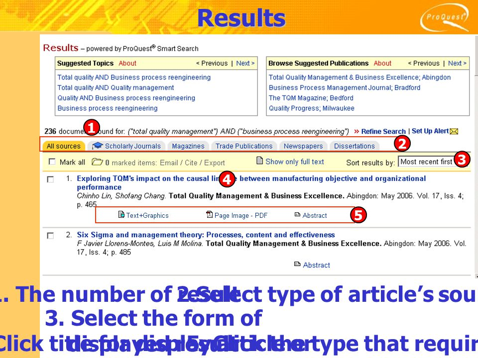 Results 1. The number of result2.Select type of article's sources 3.