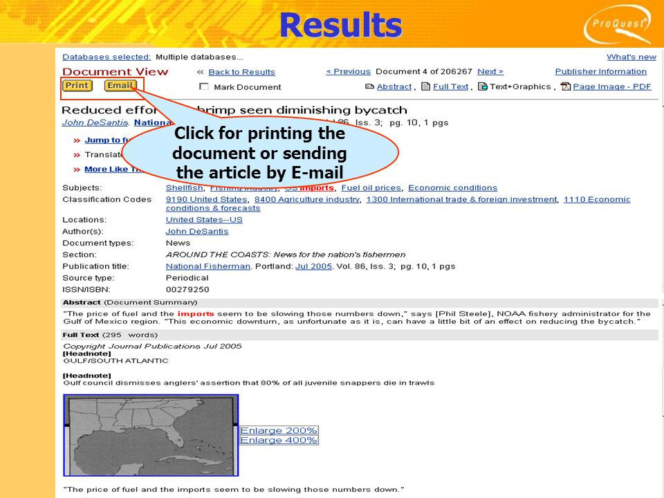 Results Click for printing the document or sending the article by E-mail