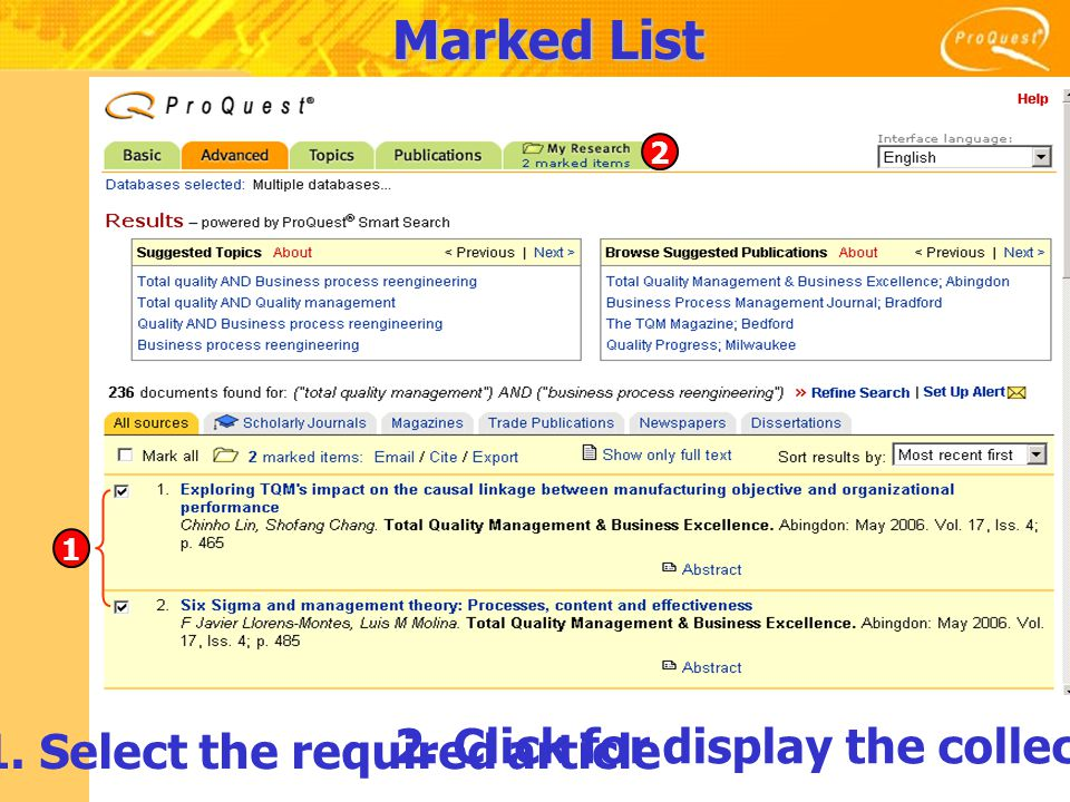 Marked List 1. Select the required article 2. Click for display the collection 1 2