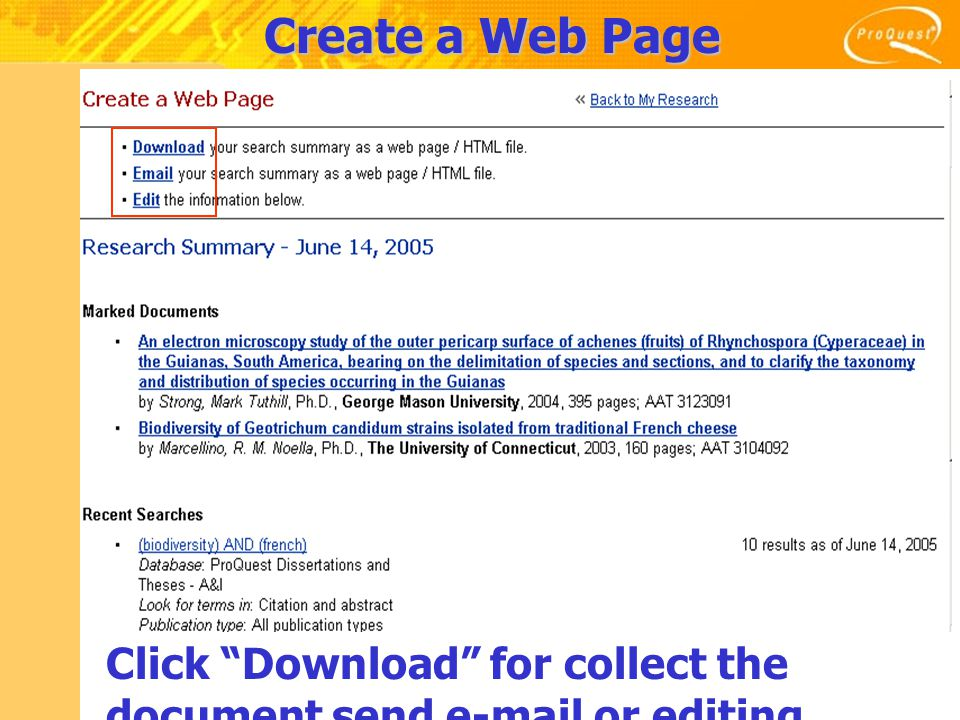 Create a Web Page Click Download for collect the document send e-mail or editing