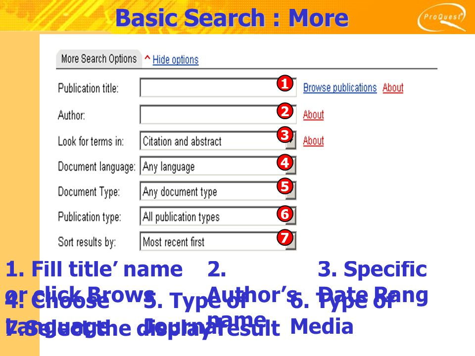 Basic Search : More Search Options 1. Fill title' name or click Brows 2.