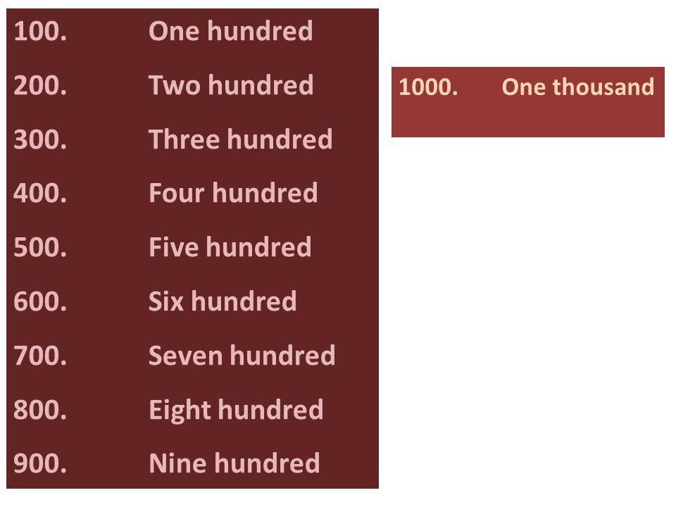 100.One hundred 200. Two hundred 300. Three hundred 400.Four hundred 500.