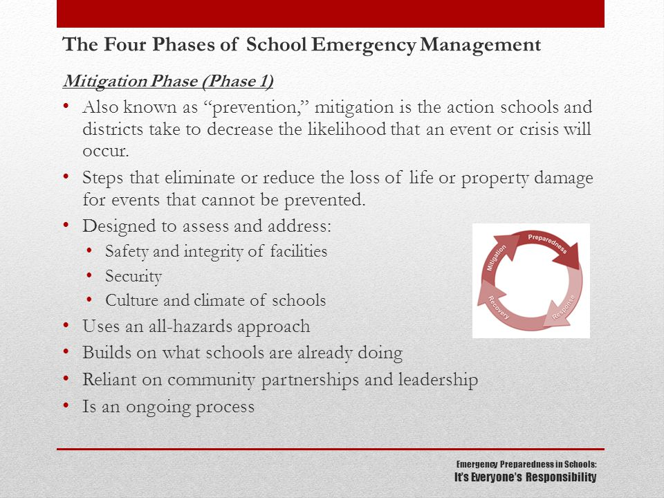 Emergency Preparedness in Schools: It's Everyone's Responsibility The Four Phases of School Emergency Management Mitigation Phase (Phase 1) Also known as prevention, mitigation is the action schools and districts take to decrease the likelihood that an event or crisis will occur.