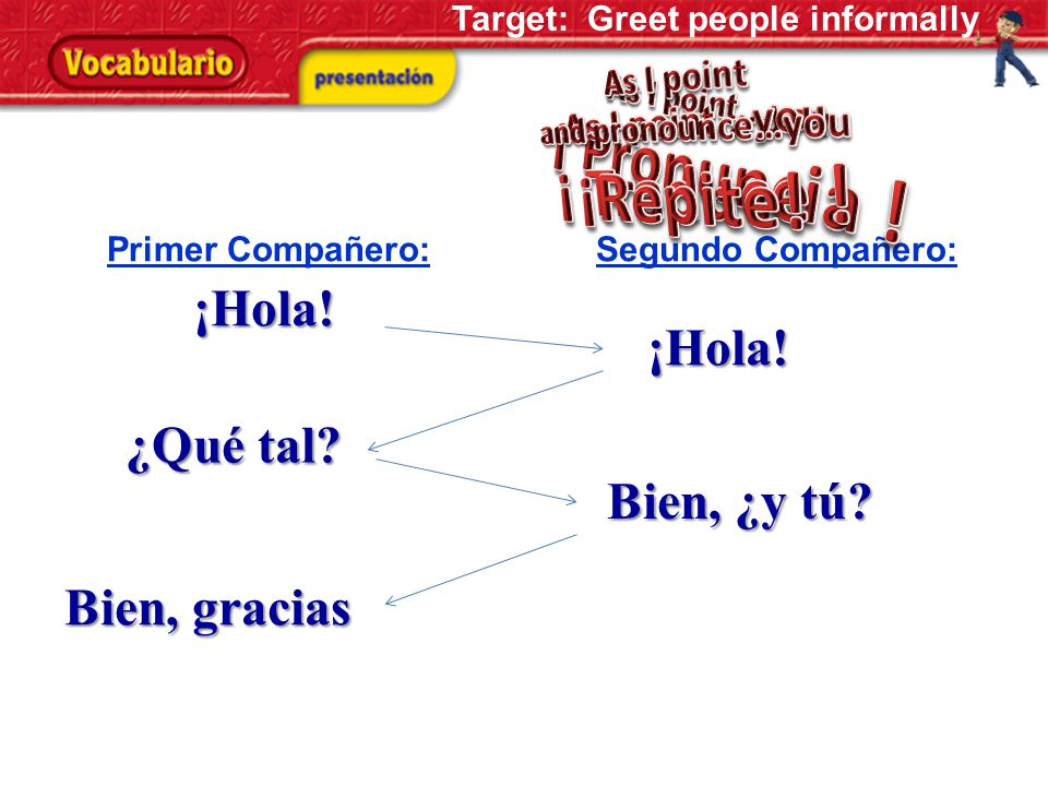 Greet these Spanish Speaking Friends: 1.Mario4. Felipe 2.Alejandra5. Vicente 3.Julia6. Andrea ¡Hola, _____________! ¿Qué tal? Target: Greet people inf