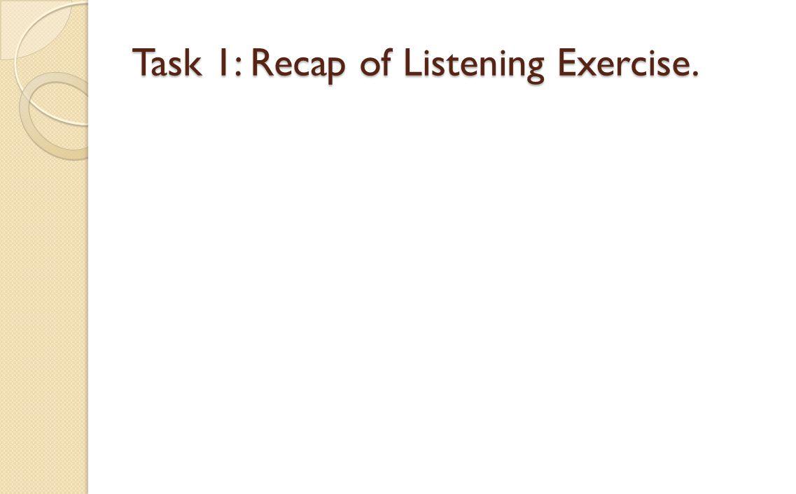 Task 1: Recap of Listening Exercise.