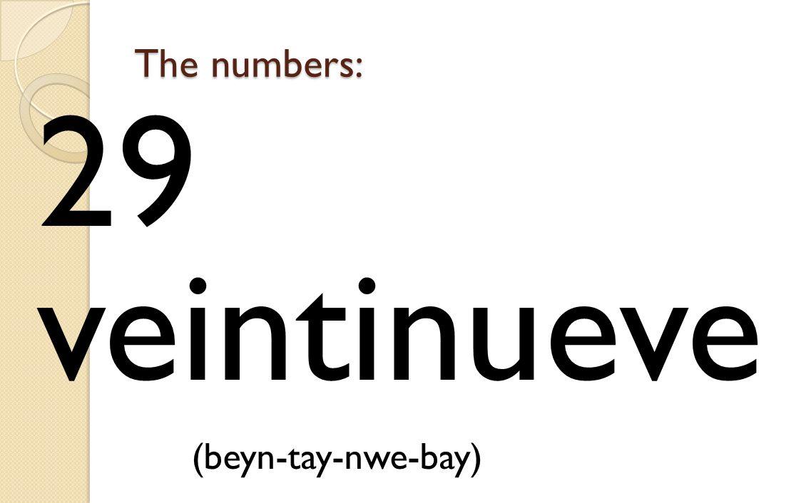 The numbers: 29 veintinueve (beyn-tay-nwe-bay)