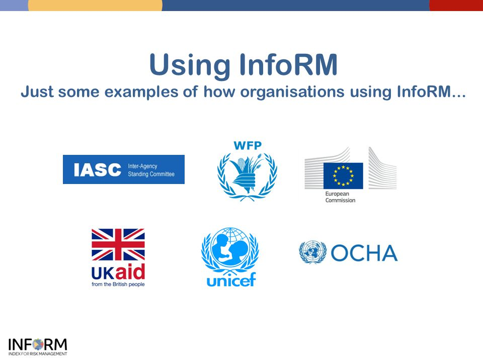Using InfoRM Just some examples of how organisations using InfoRM...