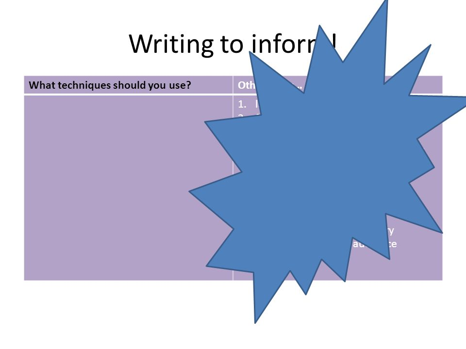Writing to inform! What techniques should you use?Other ideas… 1.language is clear 2.factual and impersonal. 3.Use short and clear sentences. 4.Break