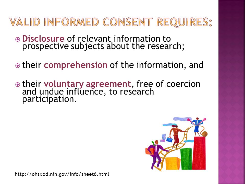  Disclosure of relevant information to prospective subjects about the research;  their comprehension of the information, and  their voluntary agree
