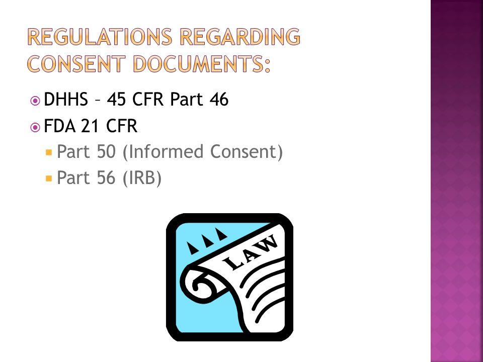  DHHS – 45 CFR Part 46  FDA 21 CFR  Part 50 (Informed Consent)  Part 56 (IRB)