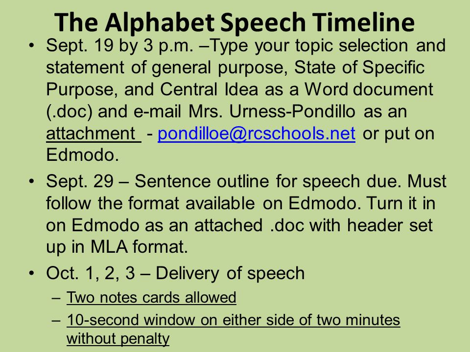 The Alphabet Speech Timeline Sept.19 by 3 p.m.