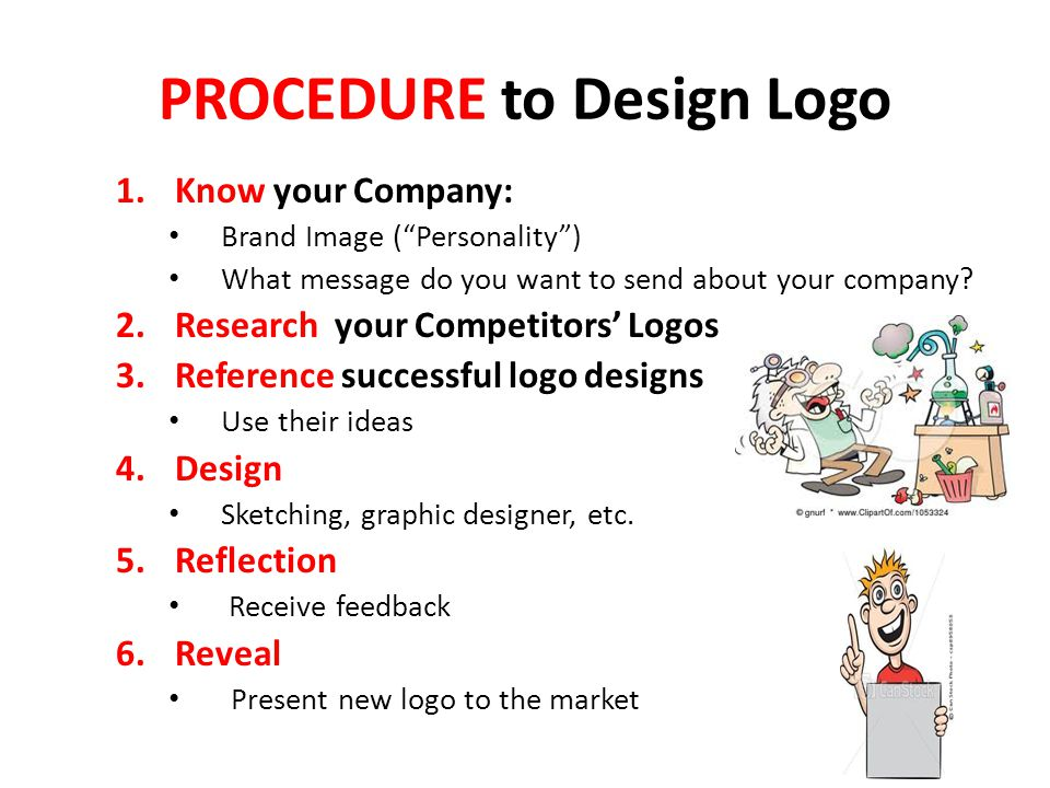PROCEDURE to Design Logo 1.Know your Company: Brand Image ( Personality ) What message do you want to send about your company.