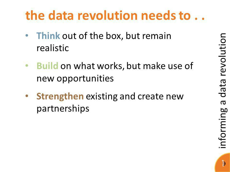 informing a data revolution 10 Does the data exist.