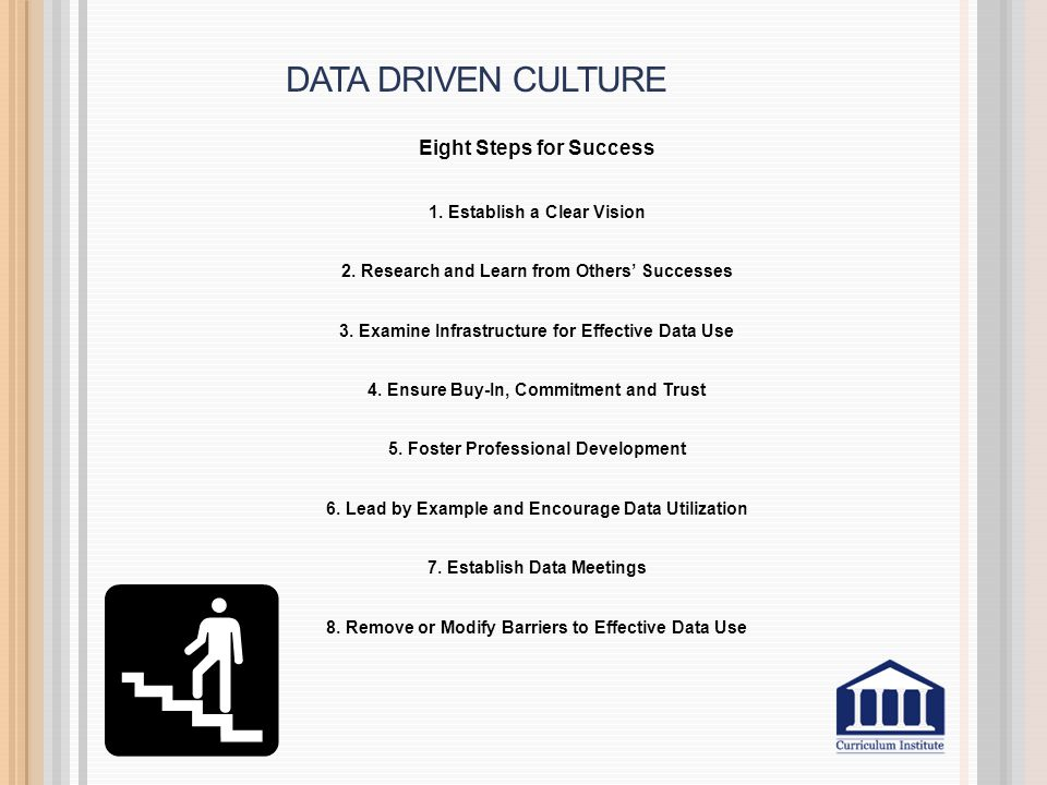 DATA DRIVEN CULTURE Eight Steps for Success 1. Establish a Clear Vision 2.