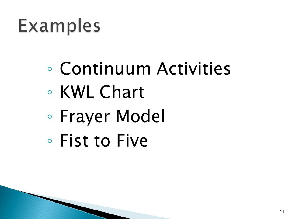 ◦ Continuum Activities ◦ KWL Chart ◦ Frayer Model ◦ Fist to Five 11