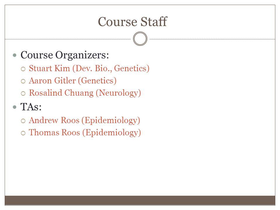 Course Staff Course Organizers:  Stuart Kim (Dev.