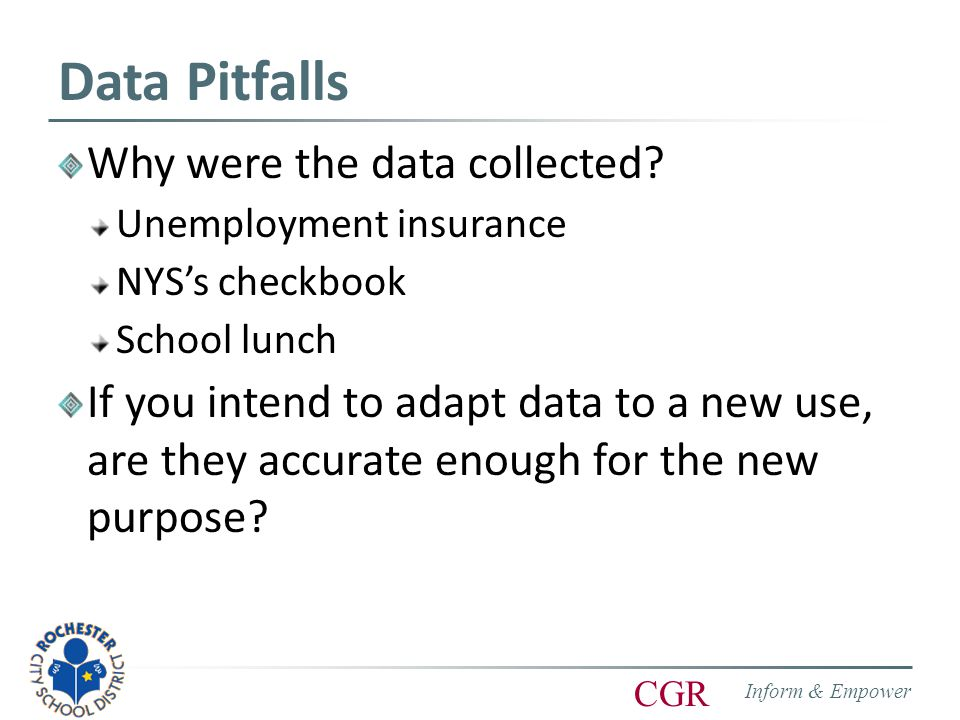 Inform & Empower CGR Data Pitfalls Why were the data collected.