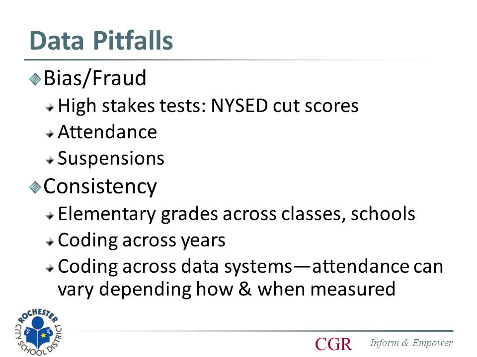 Inform & Empower CGR Data Pitfalls Bias/Fraud High stakes tests: NYSED cut scores Attendance Suspensions Consistency Elementary grades across classes, schools Coding across years Coding across data systems—attendance can vary depending how & when measured