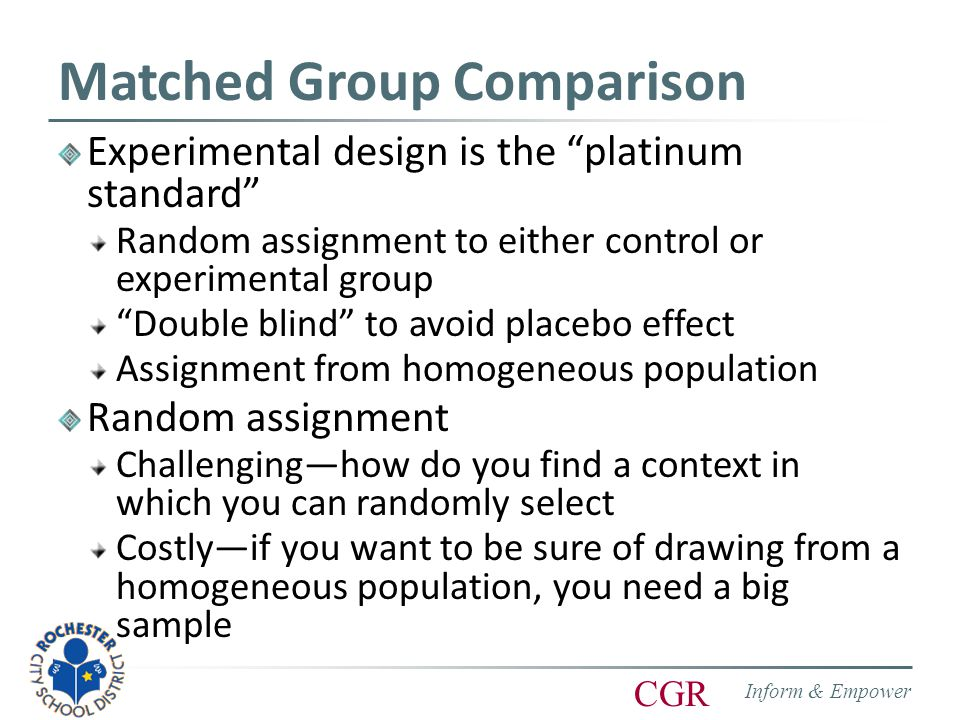 Inform & Empower CGR Matched Group Comparison Experimental design is the platinum standard Random assignment to either control or experimental group Double blind to avoid placebo effect Assignment from homogeneous population Random assignment Challenging—how do you find a context in which you can randomly select Costly—if you want to be sure of drawing from a homogeneous population, you need a big sample