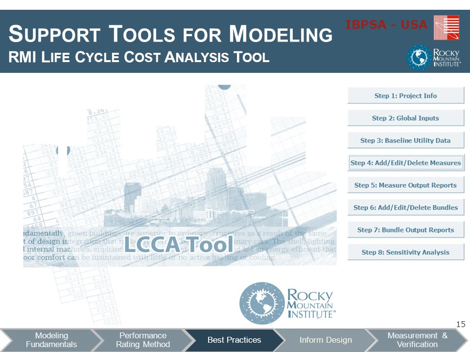 IBPSA - USA S UPPORT T OOLS FOR M ODELING RMI L IFE C YCLE C OST A NALYSIS T OOL Features Excel based Transparent (Open Source) Flexible Step through analysis 15