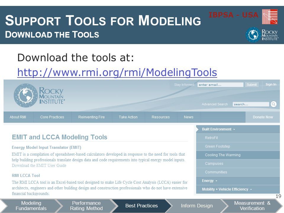 IBPSA - USA S UPPORT T OOLS FOR M ODELING D OWNLOAD THE T OOLS Download the tools at: http://www.rmi.org/rmi/ModelingTools 19