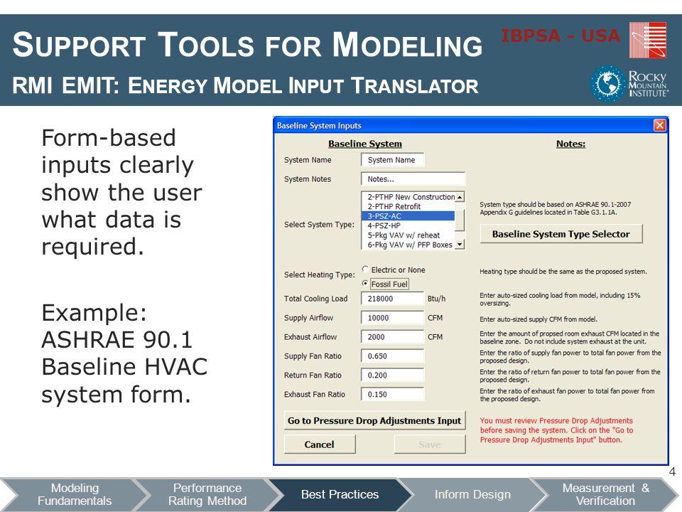 IBPSA - USA S UPPORT T OOLS FOR M ODELING RMI EMIT: E NERGY M ODEL I NPUT T RANSLATOR Spreadsheet output for 90.1 Baseline: 5