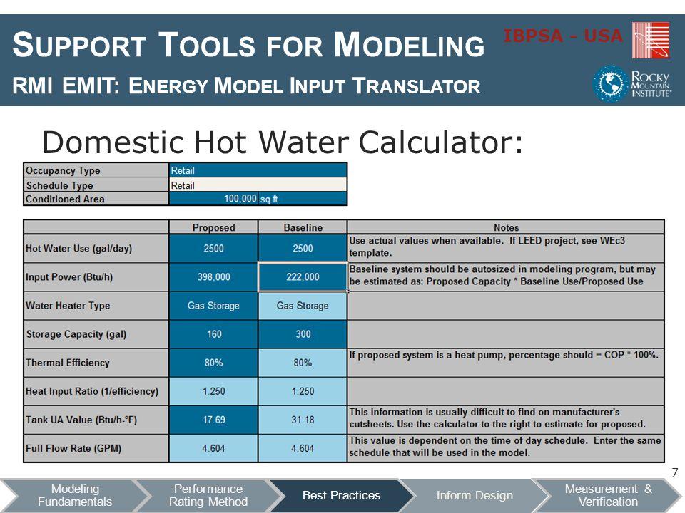 IBPSA - USA S UPPORT T OOLS FOR M ODELING RMI EMIT: E NERGY M ODEL I NPUT T RANSLATOR Domestic Hot Water Calculator: 7