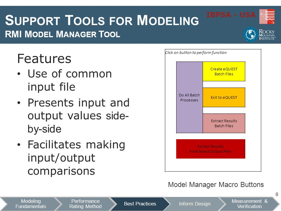 IBPSA - USA S UPPORT T OOLS FOR M ODELING RMI M ODEL M ANAGER T OOL Features Use of common input file Presents input and output values side- by-side Facilitates making input/output comparisons Click on button to perform function Do All Batch Processes Create eQUEST Batch Files Exit to eQUEST Extract Results Batch Files Extract Results from Select Output Files Model Manager Macro Buttons 8