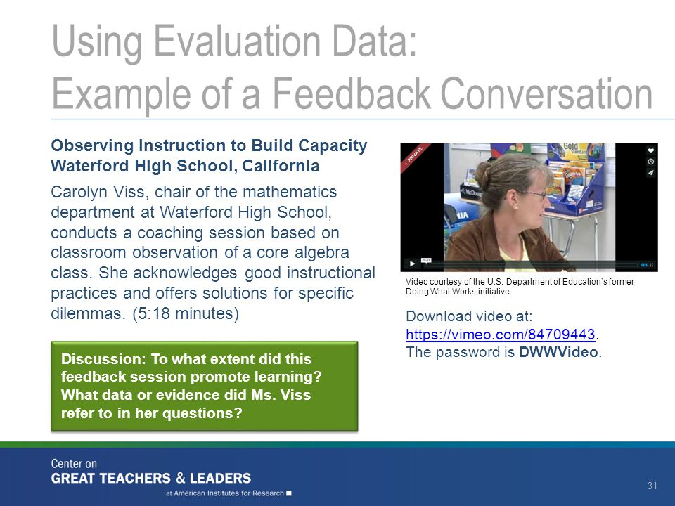 Observing Instruction to Build Capacity Waterford High School, California Carolyn Viss, chair of the mathematics department at Waterford High School, conducts a coaching session based on classroom observation of a core algebra class.