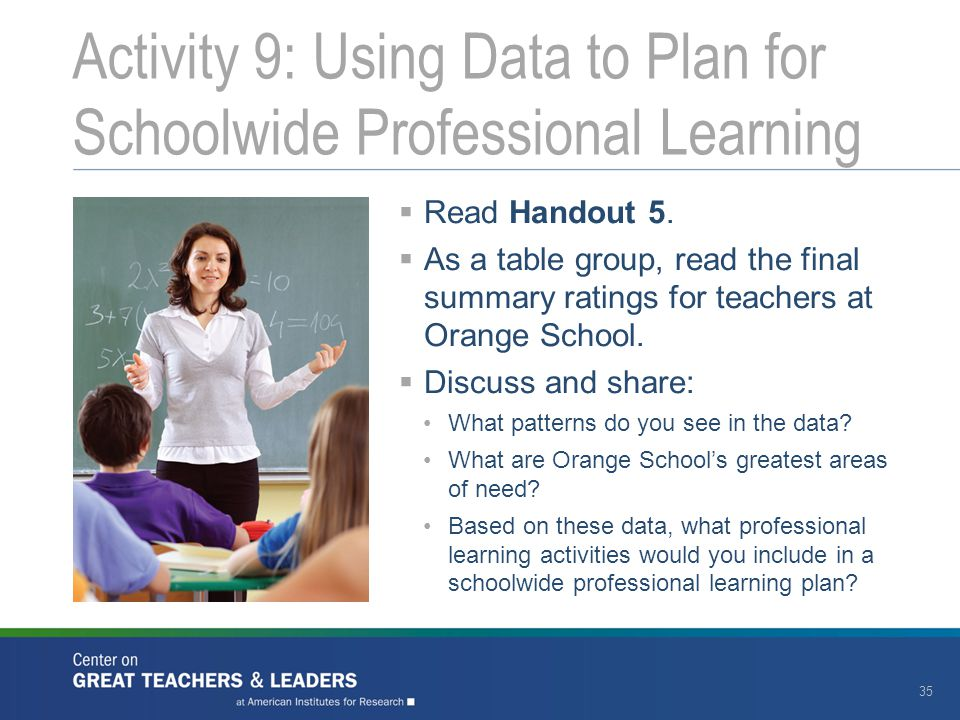 Activity 9: Using Data to Plan for Schoolwide Professional Learning 35  Read Handout 5.