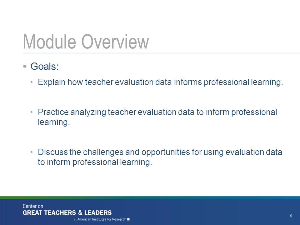  Goals: Explain how teacher evaluation data informs professional learning.