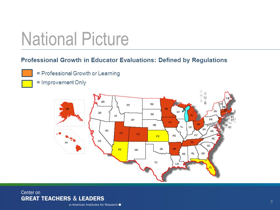 Professional Growth in Educator Evaluations: Defined by Regulations = Professional Growth or Learning = Improvement Only National Picture 9