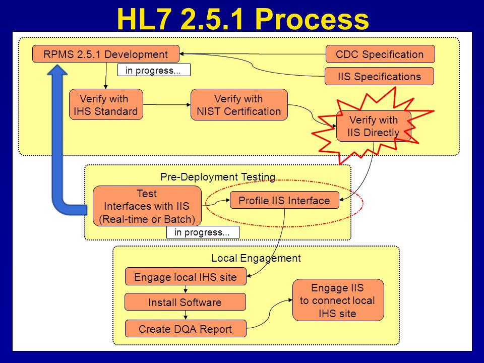 Local Engagement Pre-Deployment Testing Verify with IHS Standard Verify with NIST Certification Verify with IIS Directly Profile IIS Interface Test In