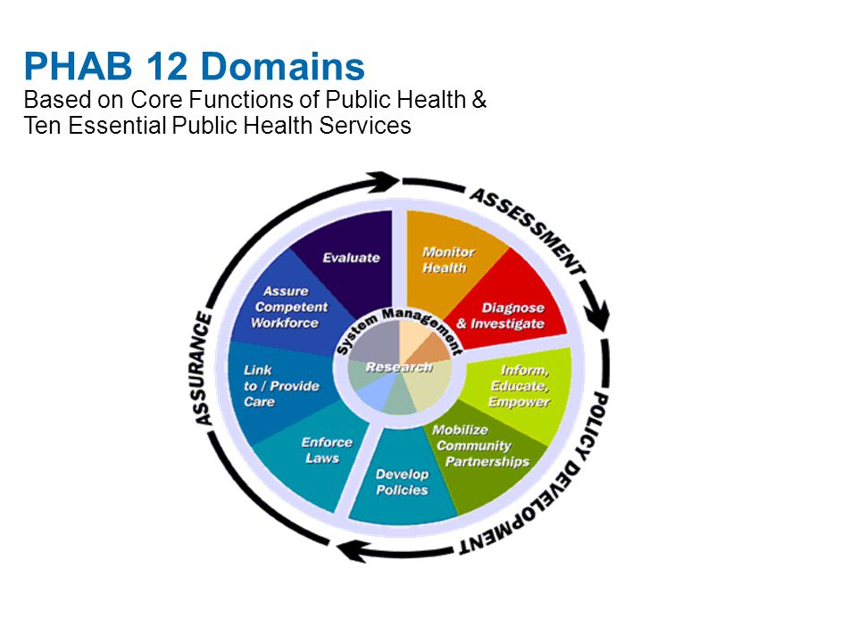 PHAB 12 Domains Based on Core Functions of Public Health & Ten Essential Public Health Services